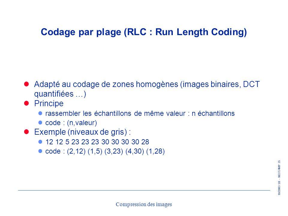 Codage par plage (RLC : Run Length Coding)