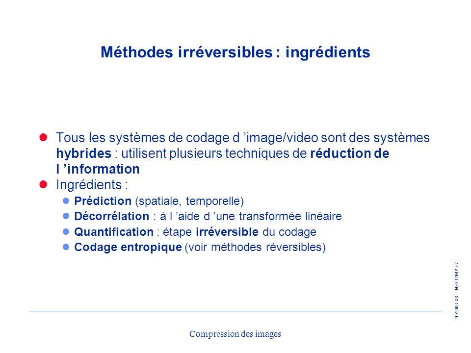 Méthodes irréversibles : ingrédients