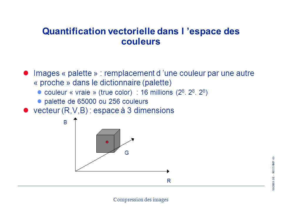 Quantification vectorielle dans l 'espace des couleurs