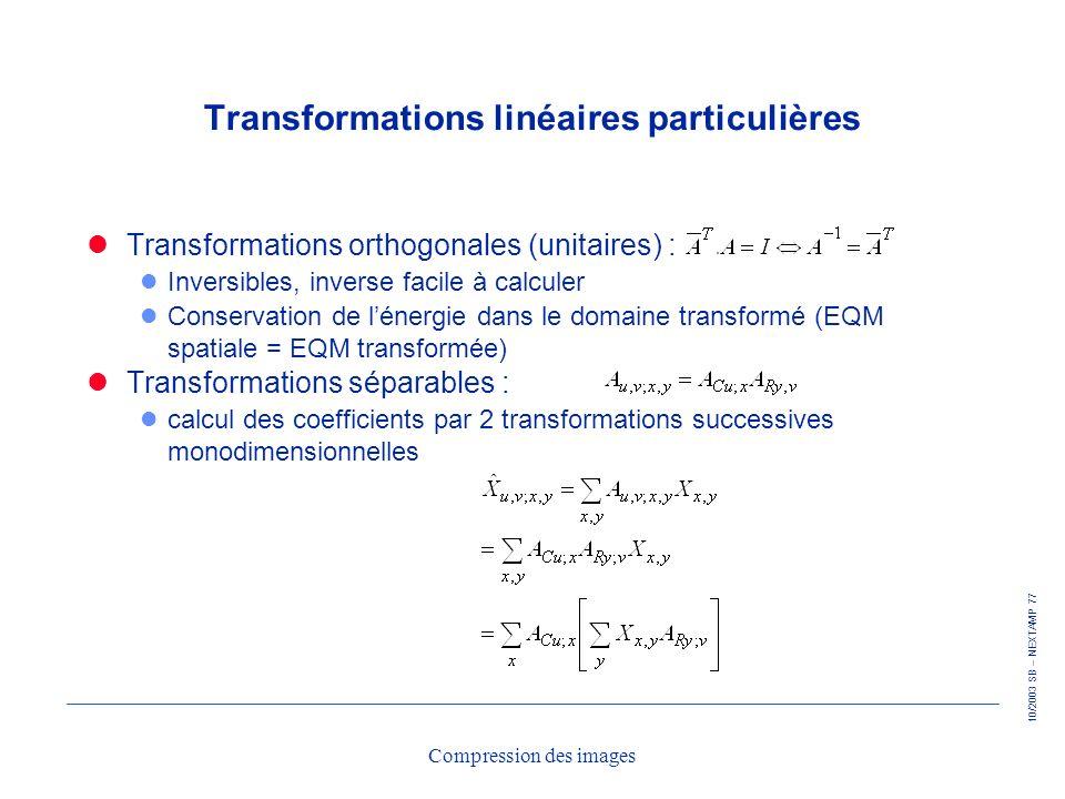 Transformations linéaires particulières