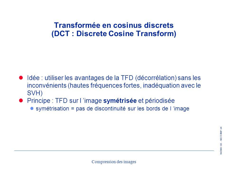 Transformée en cosinus discrets (DCT : Discrete Cosine Transform)