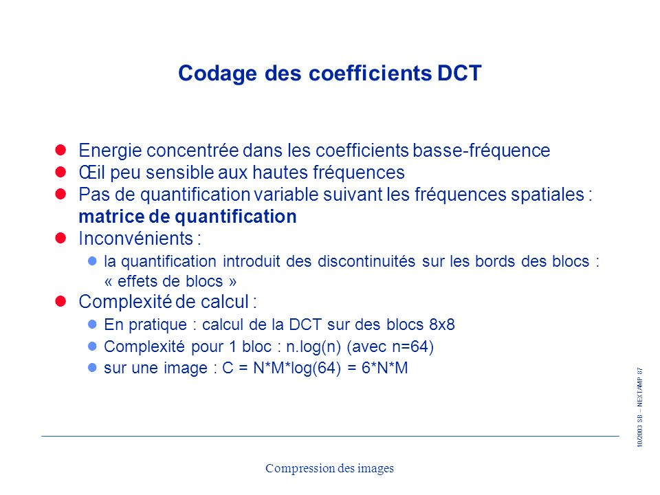 Codage des coefficients DCT