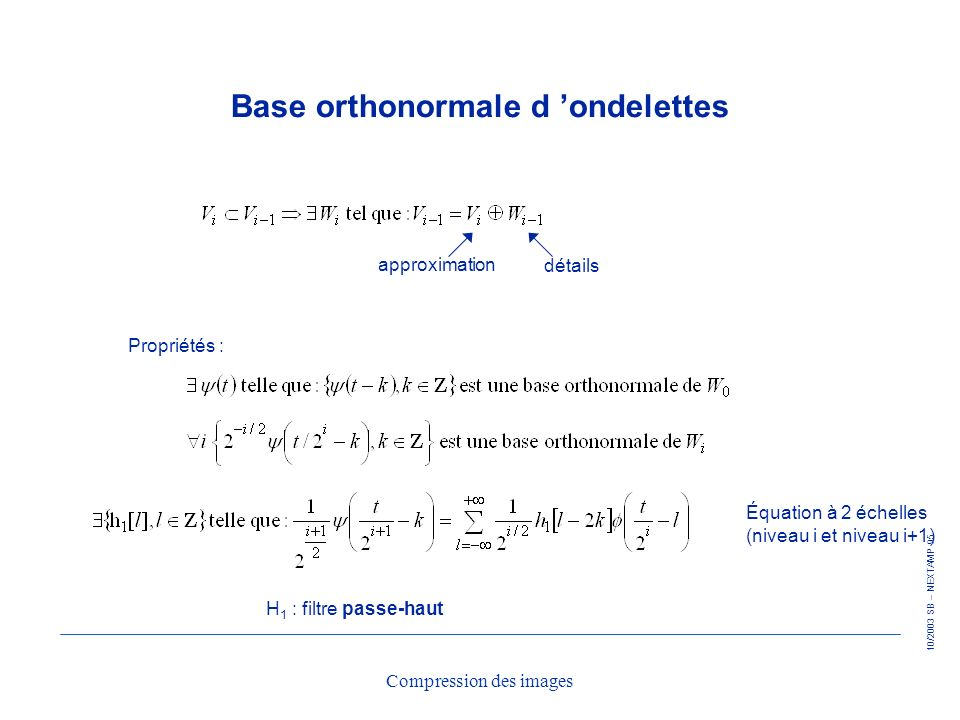 Base orthonormale d 'ondelettes