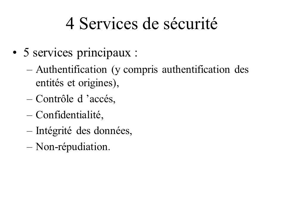 4 Services de sécurité 5 services principaux :