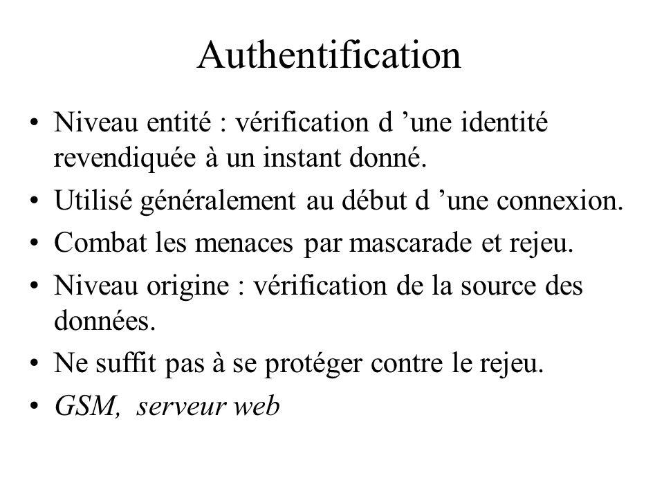 Authentification Niveau entité : vérification d 'une identité revendiquée à un instant donné. Utilisé généralement au début d 'une connexion.