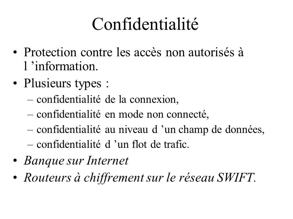 Confidentialité Protection contre les accès non autorisés à l 'information. Plusieurs types : confidentialité de la connexion,