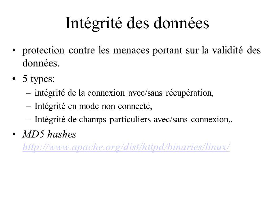 Intégrité des donnéesprotection contre les menaces portant sur la validité des données. 5 types: intégrité de la connexion avec/sans récupération,