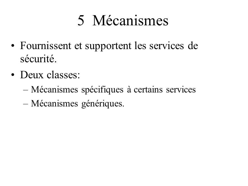 5 Mécanismes Fournissent et supportent les services de sécurité.