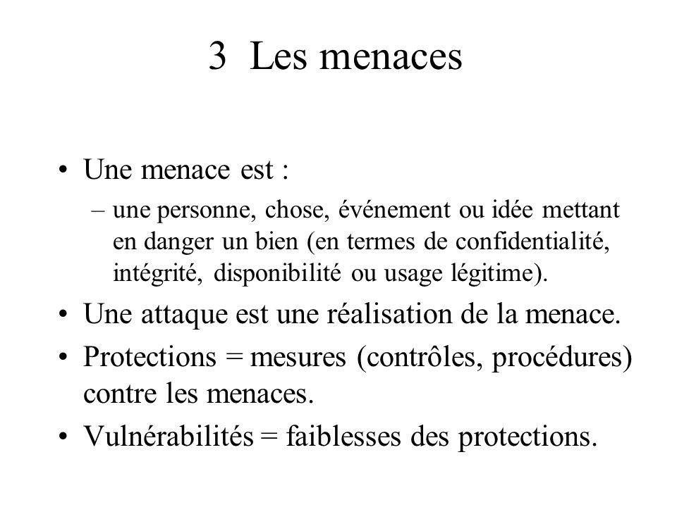 3 Les menaces Une menace est :