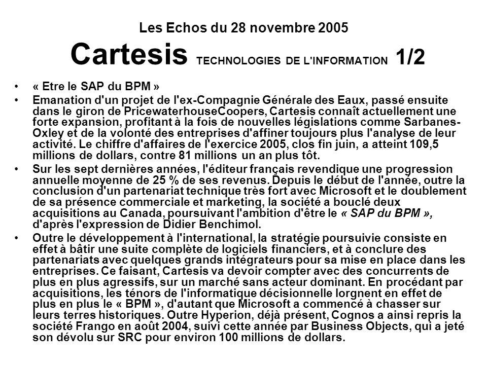 Les Echos du 28 novembre 2005 Cartesis TECHNOLOGIES DE L INFORMATION 1/2