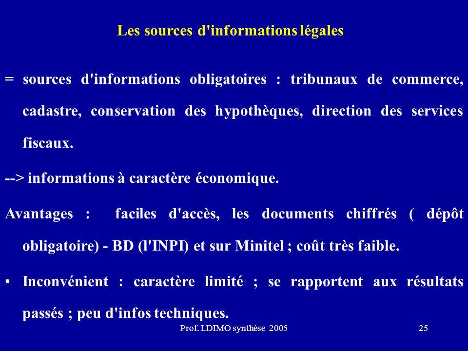 Les sources d informations légales