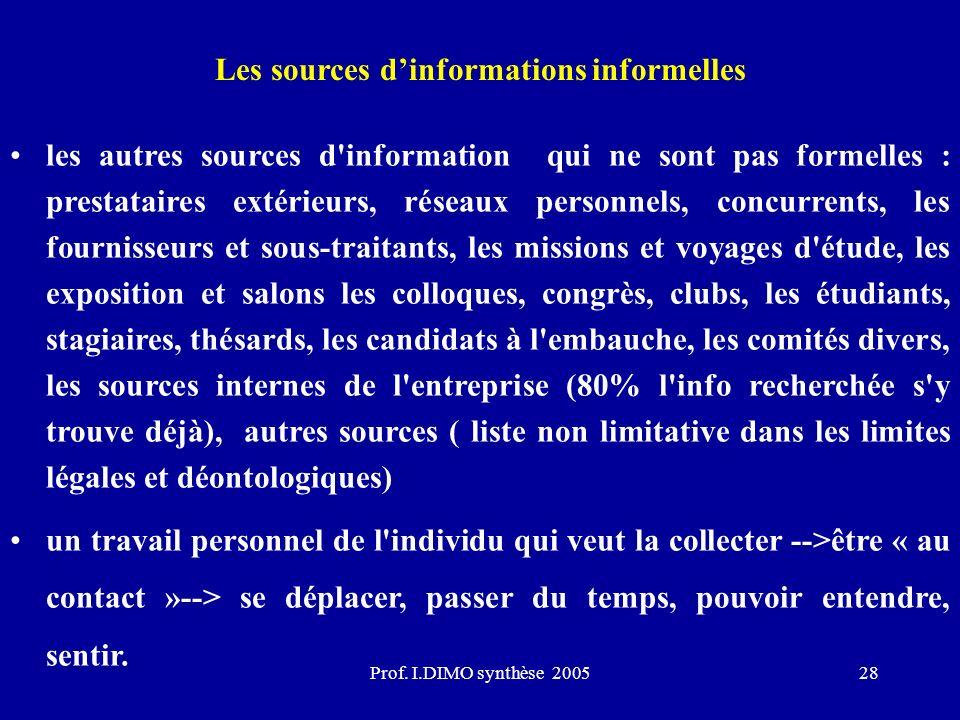 Les sources d'informations informelles