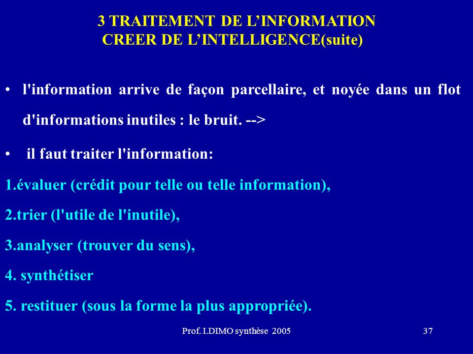3 TRAITEMENT DE L'INFORMATION CREER DE L'INTELLIGENCE(suite)
