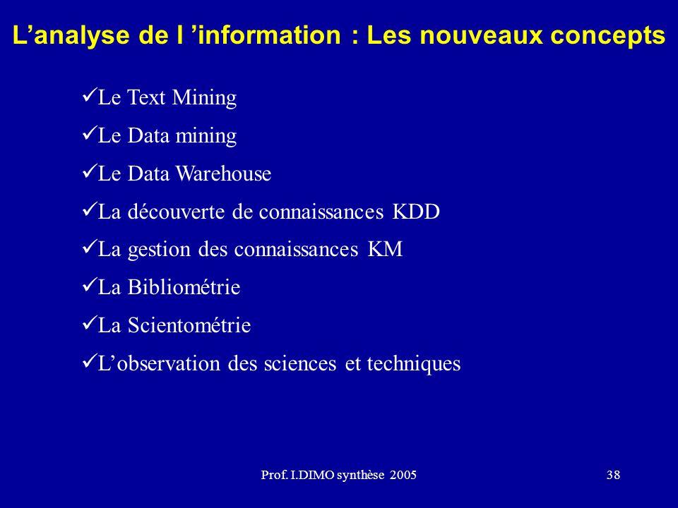 L'analyse de l 'information : Les nouveaux concepts