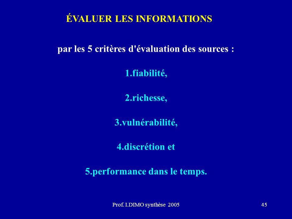 ÉVALUER LES INFORMATIONS