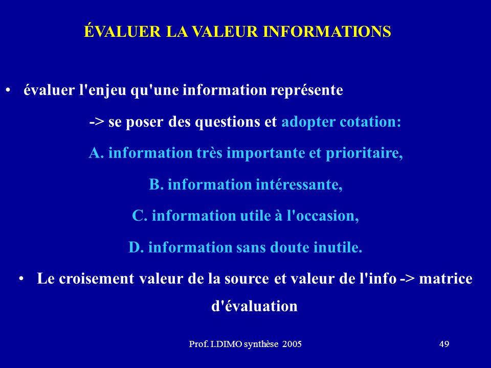 ÉVALUER LA VALEUR INFORMATIONS