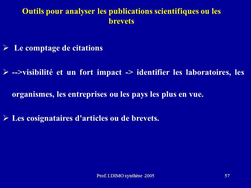 Outils pour analyser les publications scientifiques ou les brevets
