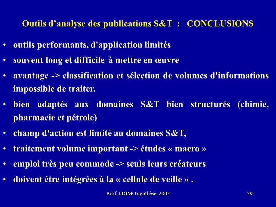 Outils d'analyse des publications S&T : CONCLUSIONS