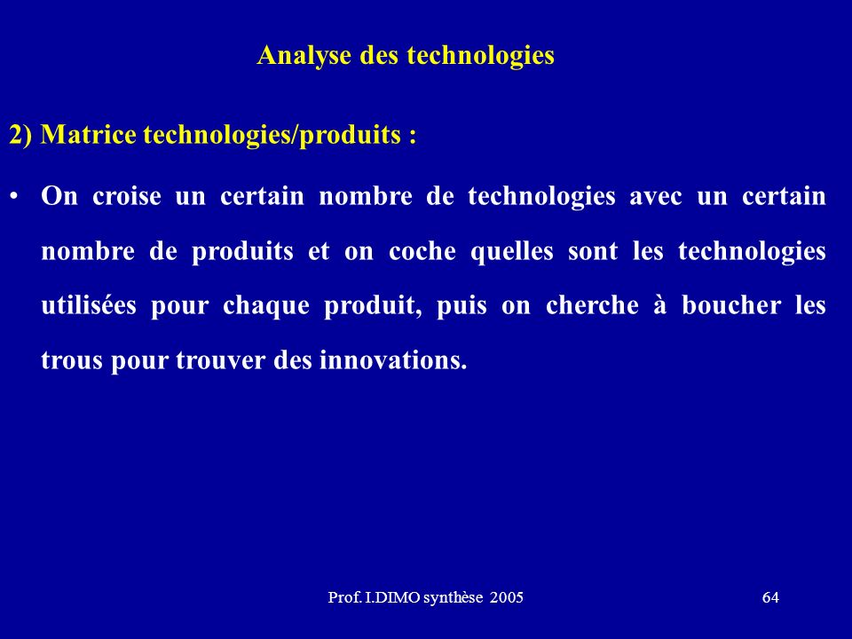 Analyse des technologies