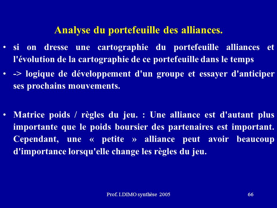 Analyse du portefeuille des alliances.