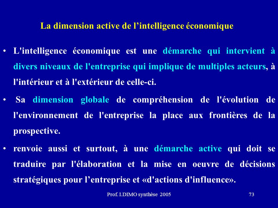 La dimension active de l'intelligence économique