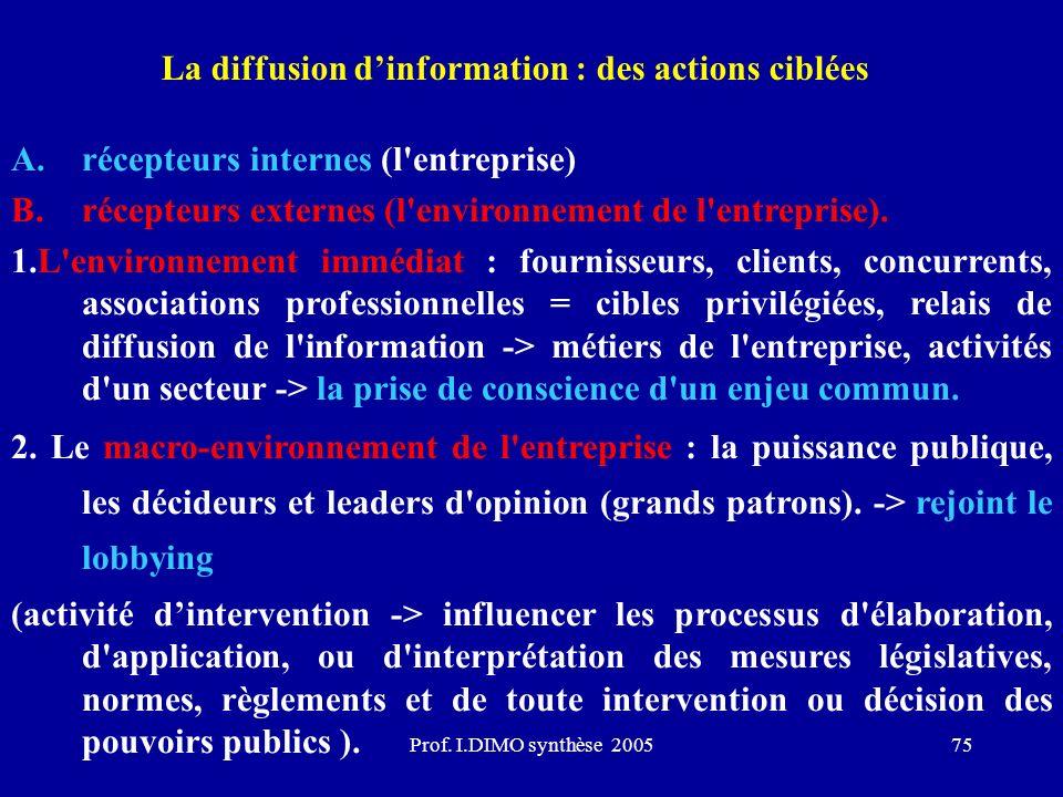 La diffusion d'information : des actions ciblées