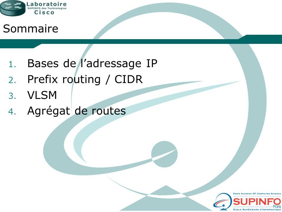 Sommaire Bases de l'adressage IP Prefix routing / CIDR VLSM Agrégat de routes