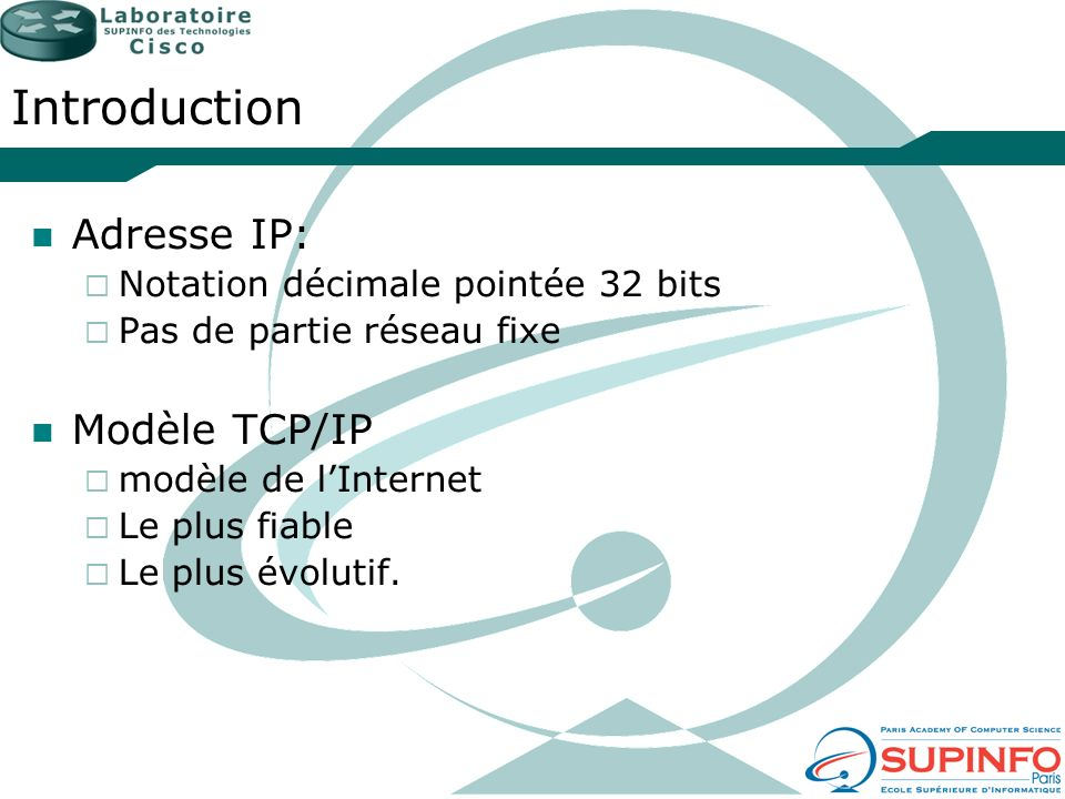 Introduction Adresse IP: Modèle TCP/IP