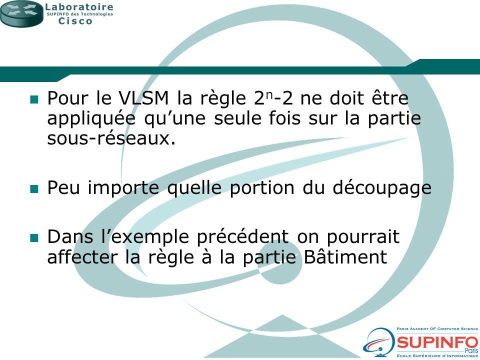Pour le VLSM la règle 2n-2 ne doit être appliquée qu'une seule fois sur la partie sous-réseaux.
