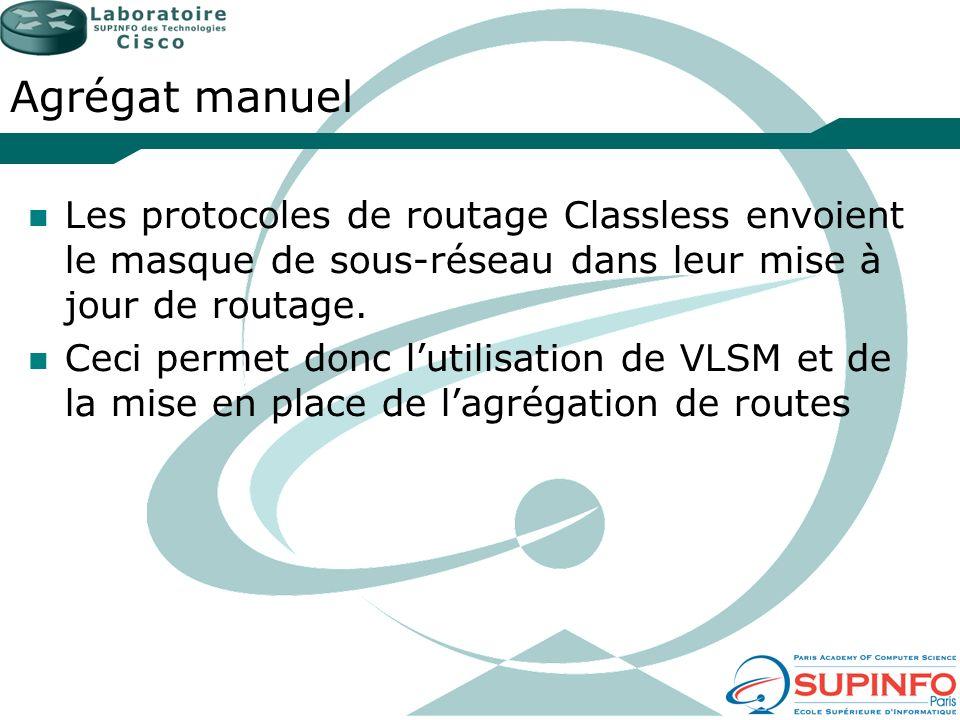 Agrégat manuel Les protocoles de routage Classless envoient le masque de sous-réseau dans leur mise à jour de routage.