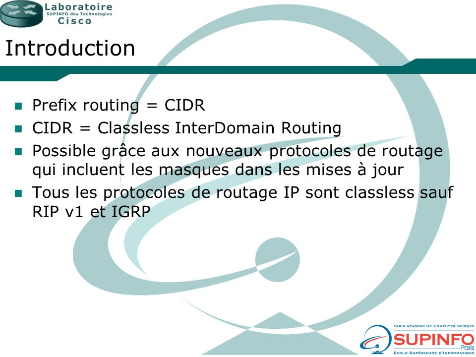Introduction Prefix routing = CIDR