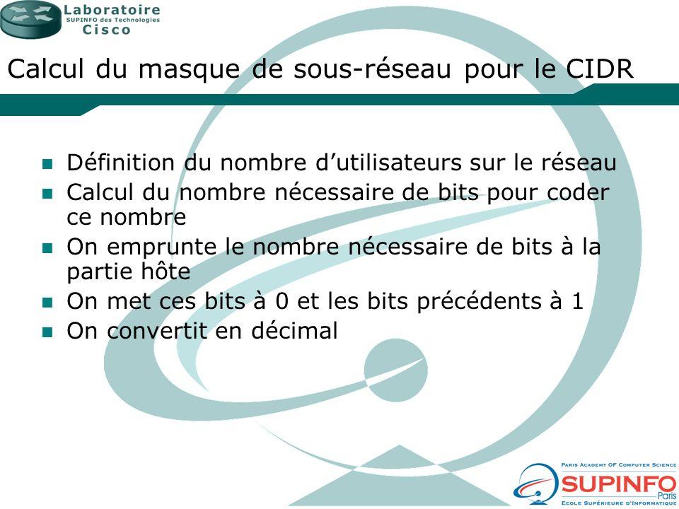 Calcul du masque de sous-réseau pour le CIDR