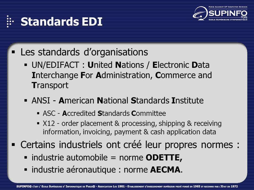 Standards EDI Les standards d'organisations