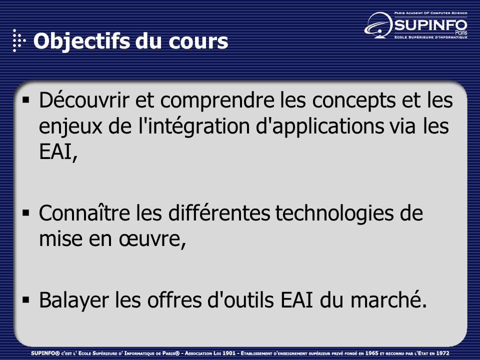 Objectifs du cours Découvrir et comprendre les concepts et les enjeux de l intégration d applications via les EAI,