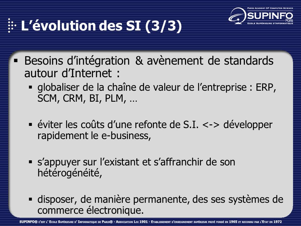 L'évolution des SI (3/3) Besoins d'intégration & avènement de standards autour d'Internet :