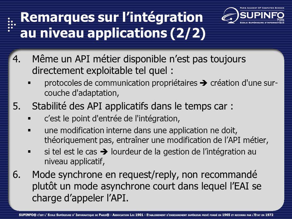 Remarques sur l'intégration au niveau applications (2/2)