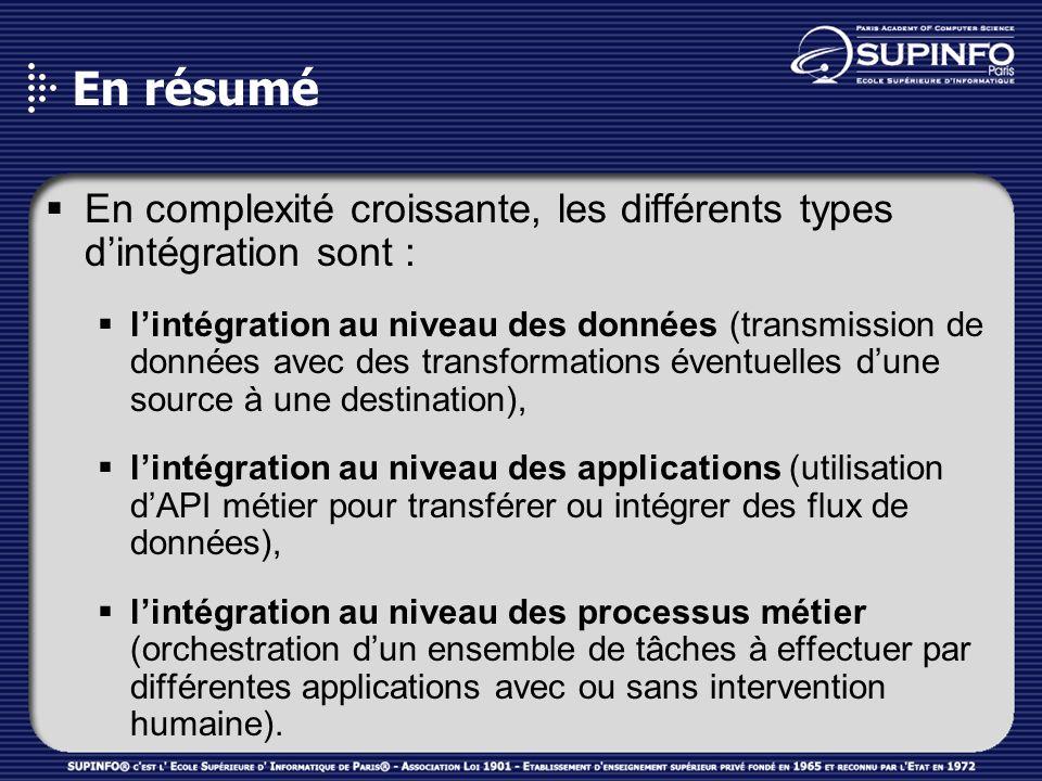 En résumé En complexité croissante, les différents types d'intégration sont :