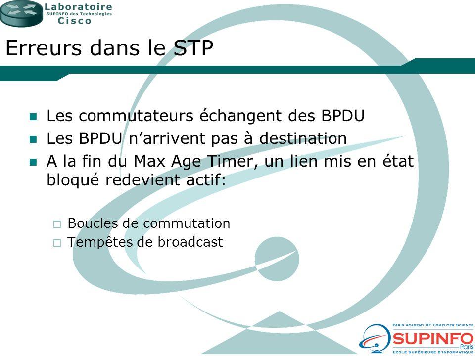 Erreurs dans le STP Les commutateurs échangent des BPDU