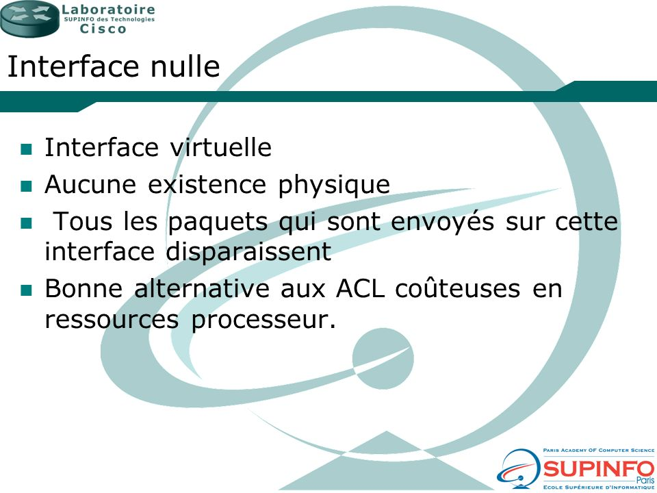 Interface nulle Interface virtuelle Aucune existence physique