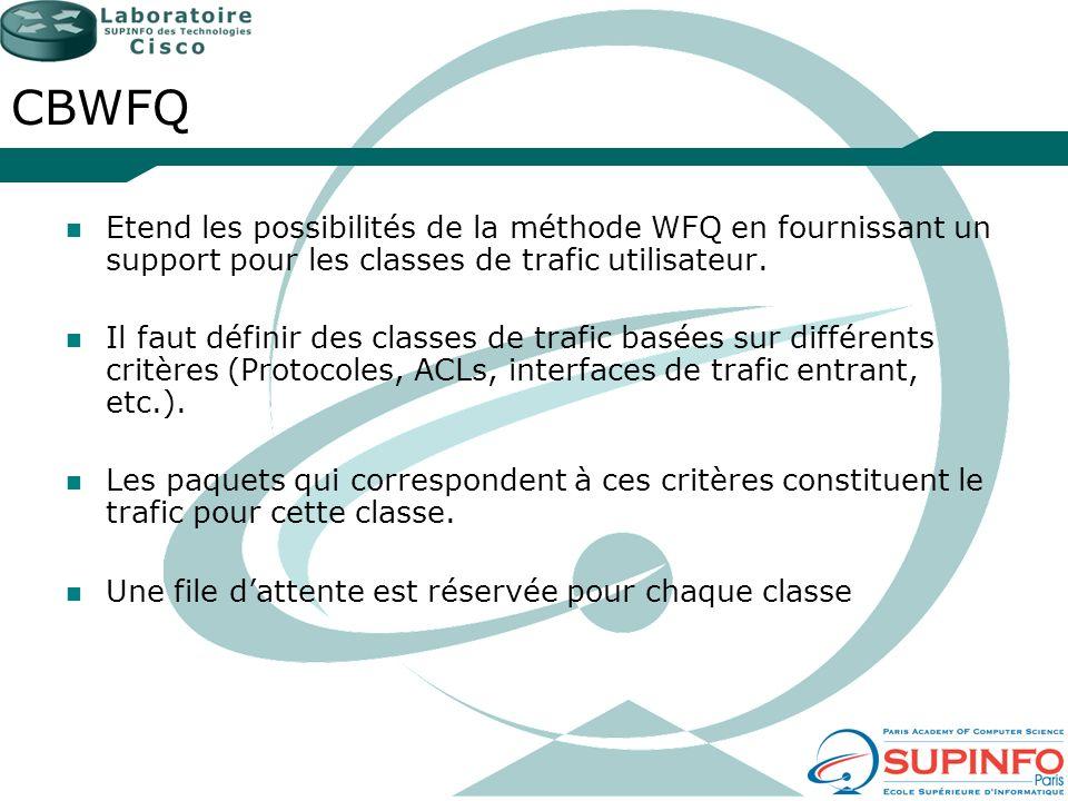 CBWFQ Etend les possibilités de la méthode WFQ en fournissant un support pour les classes de trafic utilisateur.