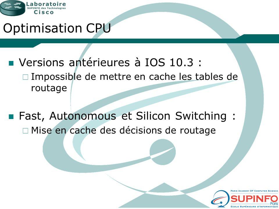 Optimisation CPU Versions antérieures à IOS 10.3 :