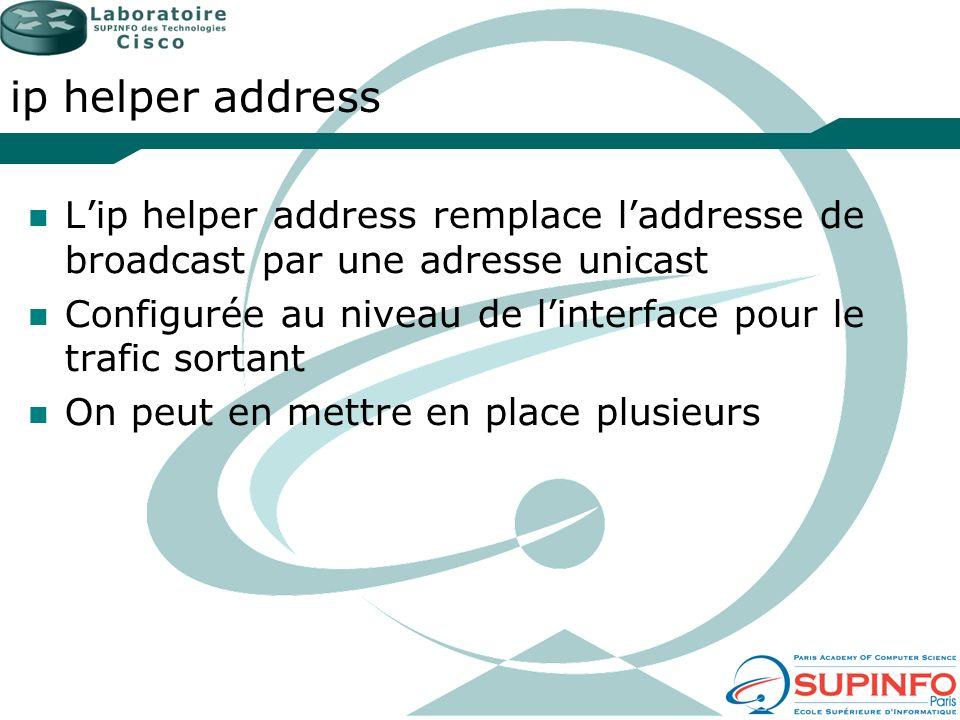 ip helper address L'ip helper address remplace l'addresse de broadcast par une adresse unicast.