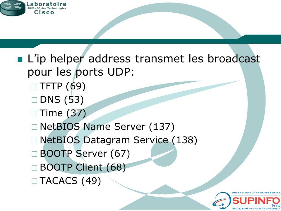 L'ip helper address transmet les broadcast pour les ports UDP: