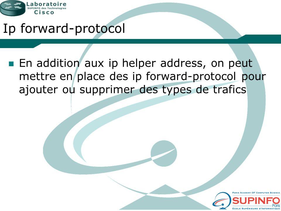 Ip forward-protocolEn addition aux ip helper address, on peut mettre en place des ip forward-protocol pour ajouter ou supprimer des types de trafics.