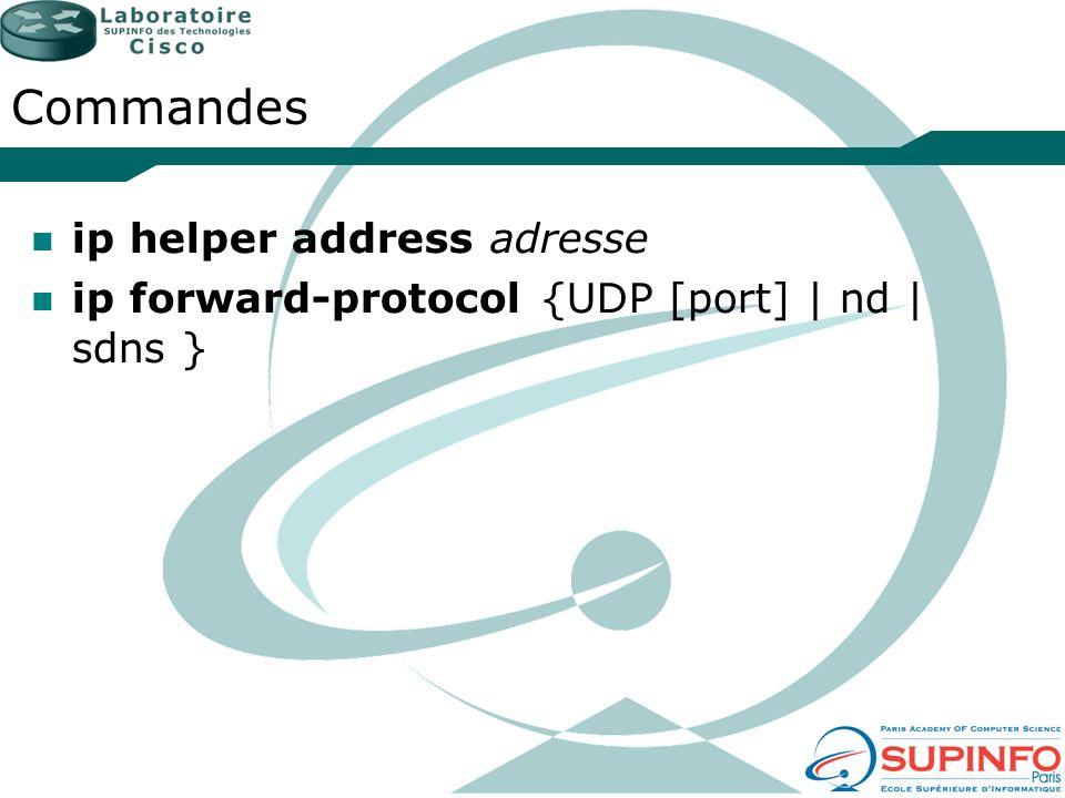 Commandes ip helper address adresse
