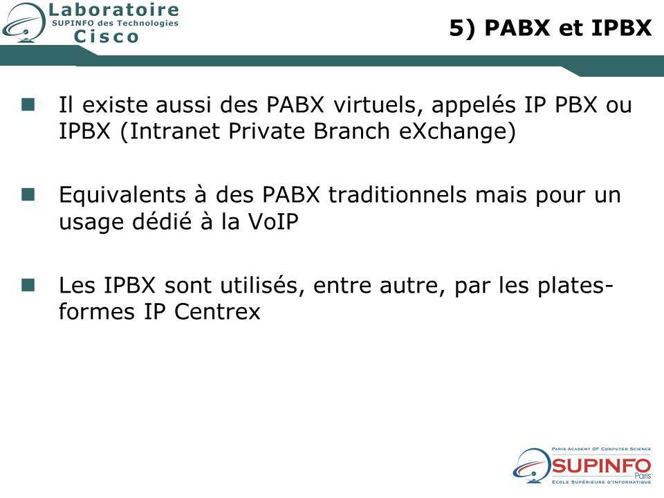 5) PABX et IPBX Il existe aussi des PABX virtuels, appelés IP PBX ou IPBX (Intranet Private Branch eXchange)
