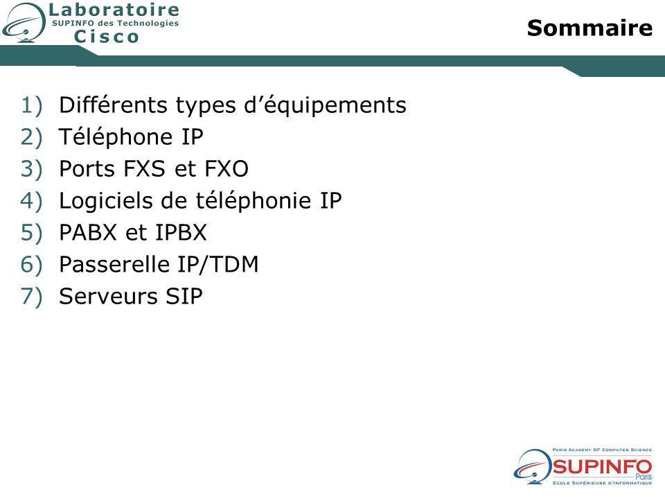Sommaire Différents types d'équipements. Téléphone IP. Ports FXS et FXO. Logiciels de téléphonie IP.