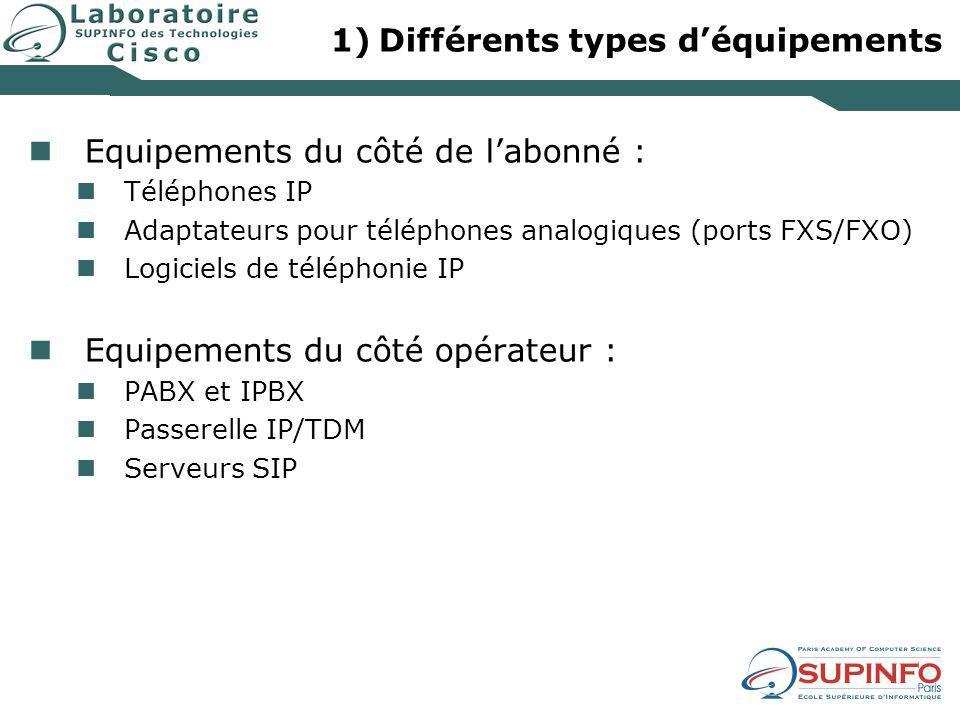 Différents types d'équipements