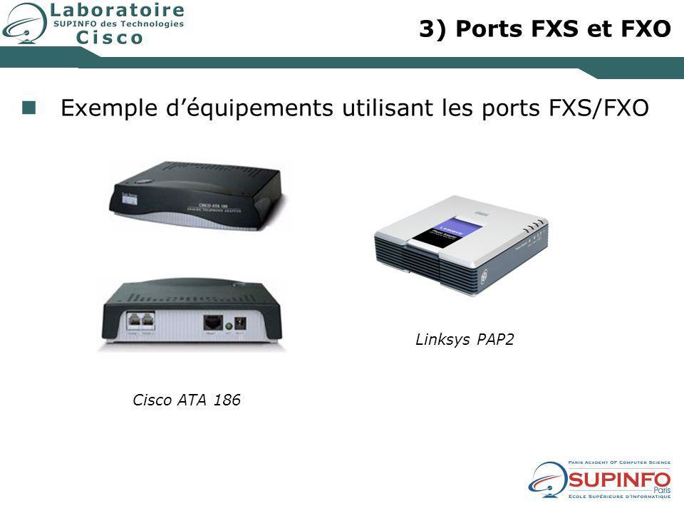 3) Ports FXS et FXO Exemple d'équipements utilisant les ports FXS/FXO Linksys PAP2 Cisco ATA 186