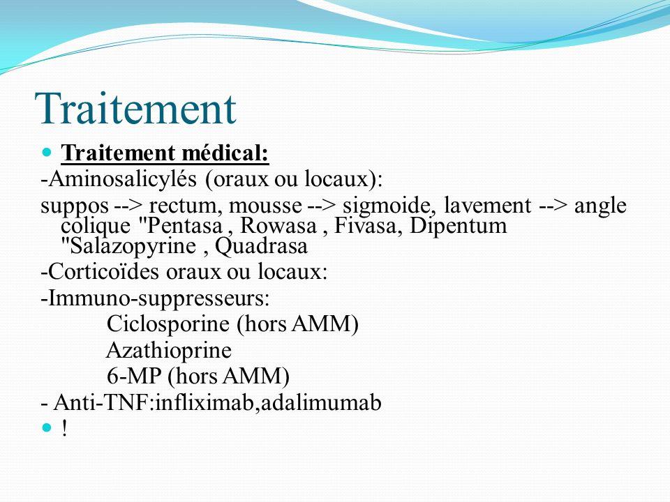 Traitement Traitement médical: -Aminosalicylés (oraux ou locaux):